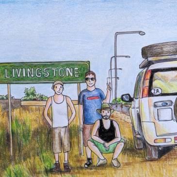 Africa road sign Livingstone Zambia urban sketching