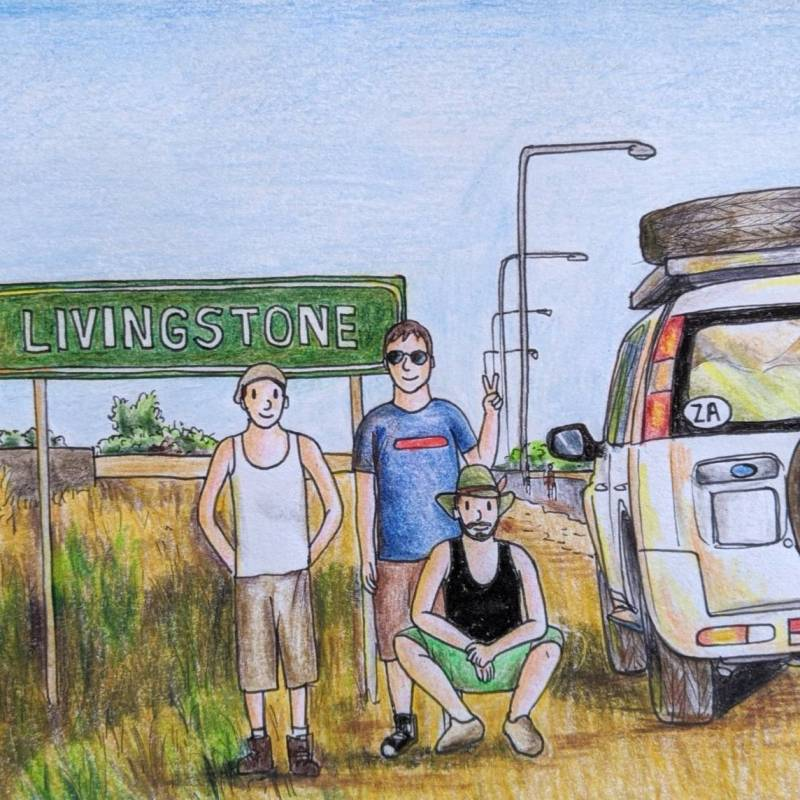 Africa road sign Livingstone Zambia urban sketching