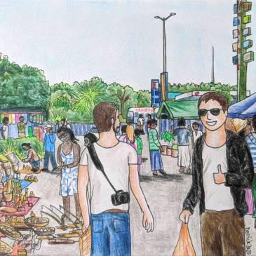 Urban sketching Zambia scene of pakati souvenir market in lusaka