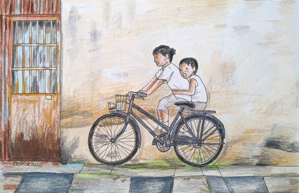 Drawing of Penang Street art kids on a bicycle public art
