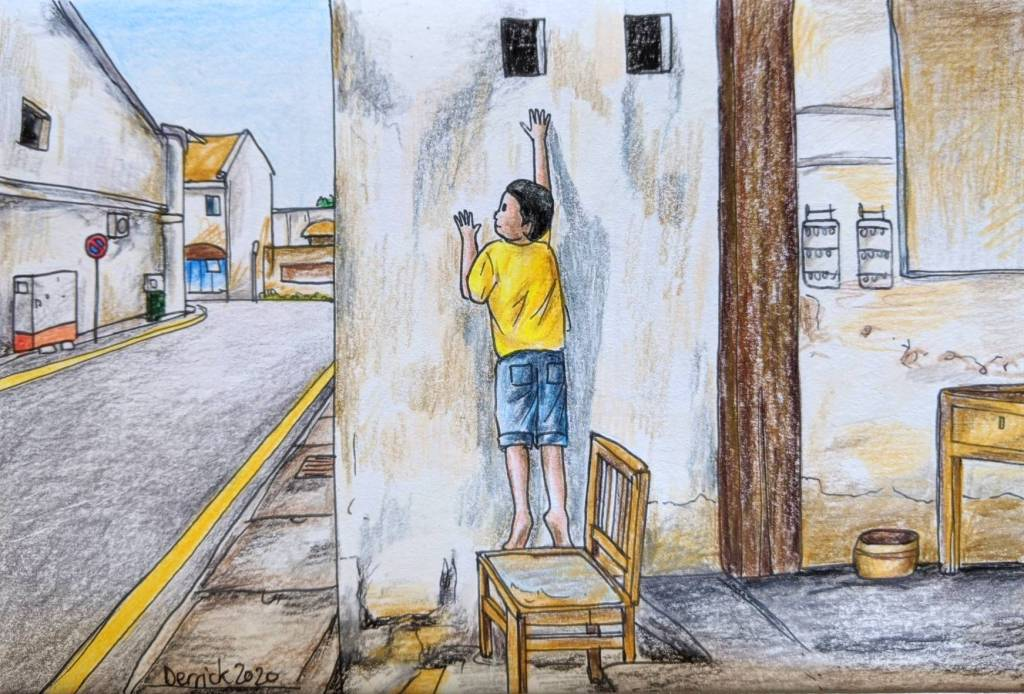 Sketch of Penang George town artwork boy on a chair by Ernest Zacharevic