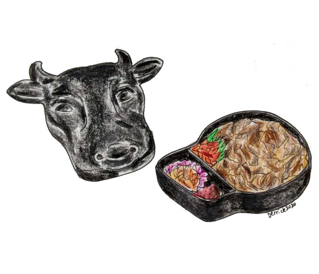 Moo Taro beef ekiben bulls head bento box