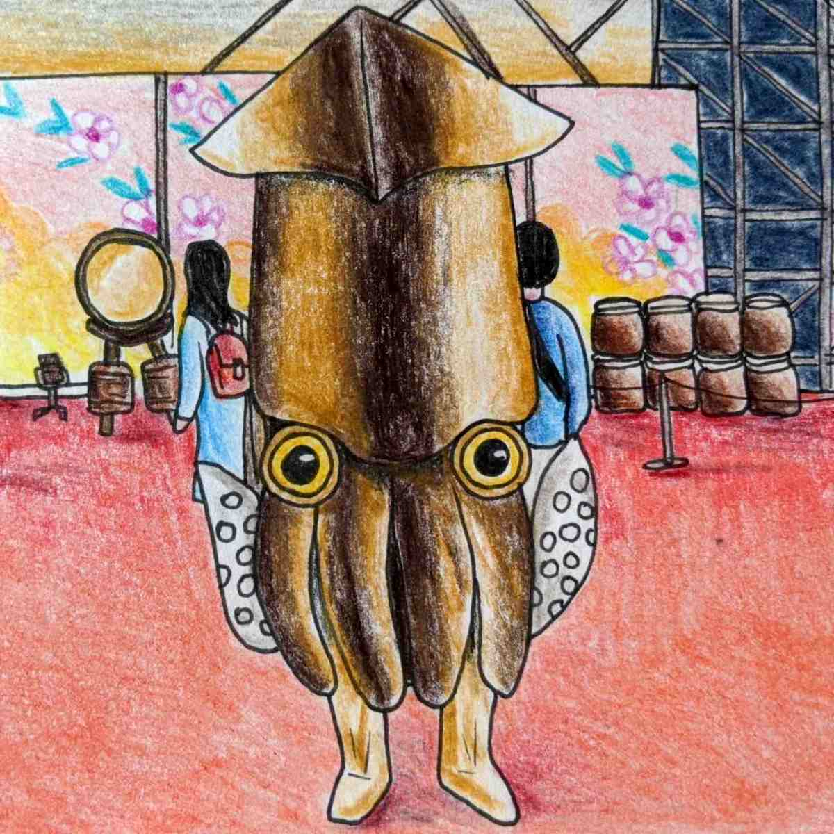 Drawing of a Cute kawaii squid mascot in Hakodate japan