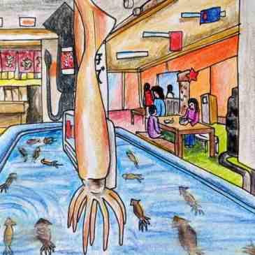Hakodate seafood market squid tank