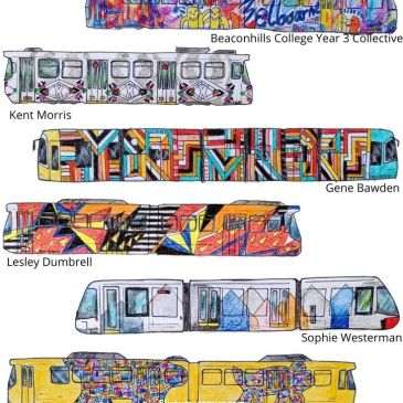 A drawing of the 8 Melbourne Art Trams of 2019