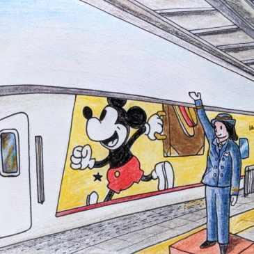 Sketch of Japanese train Mickey mouse paint design shinkansen