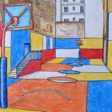 Crazy Paris basketball court colourful design Pigalle