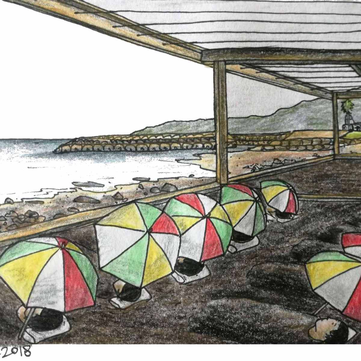 Drawing of beppu sand bathers buried in volcanic sand