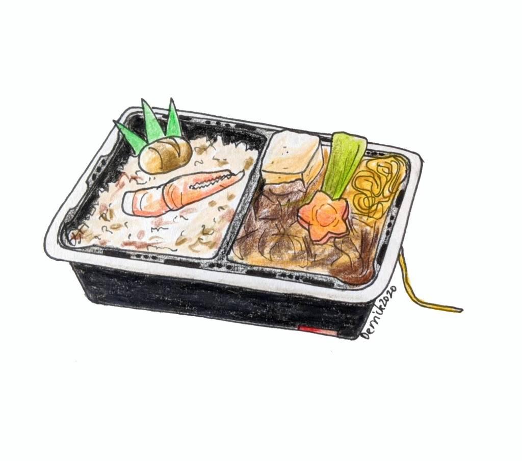 Drawing of an ekiben self heating hot bento box