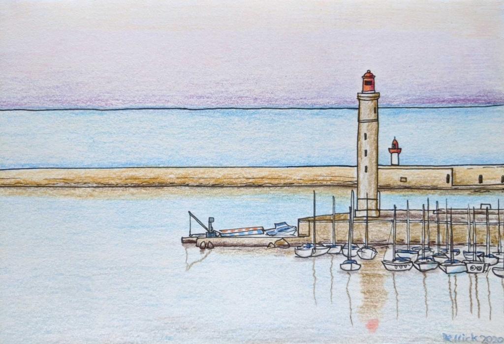 phare saint louis sete urban sketching view of French lighthouse