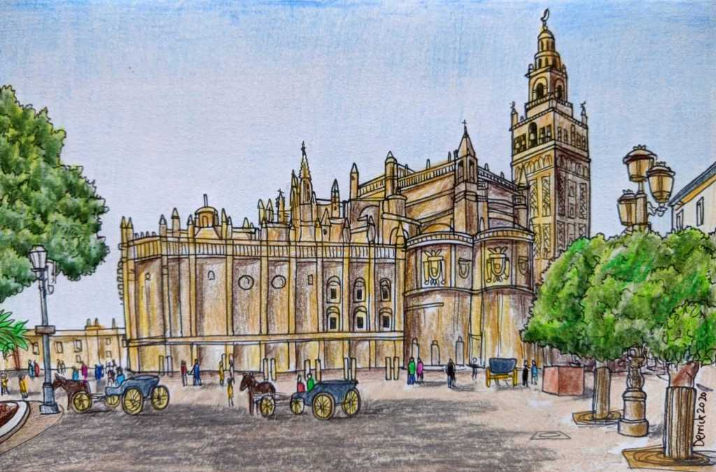 Catedral de Sevilla urban sketching Spanish Gothic cathedral drawing