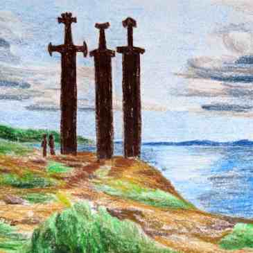 Epic three sword sculpture in Norway's fjords for Harald Fairhair