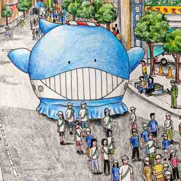 Drawing of Japanese whale festival in Akishima cute whale parade