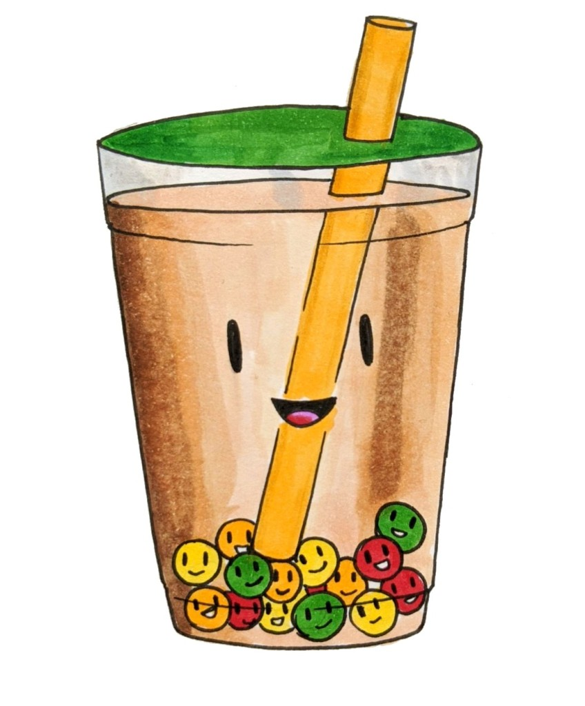Adorable cartoon bubble tea boba tea popping pearls colours
