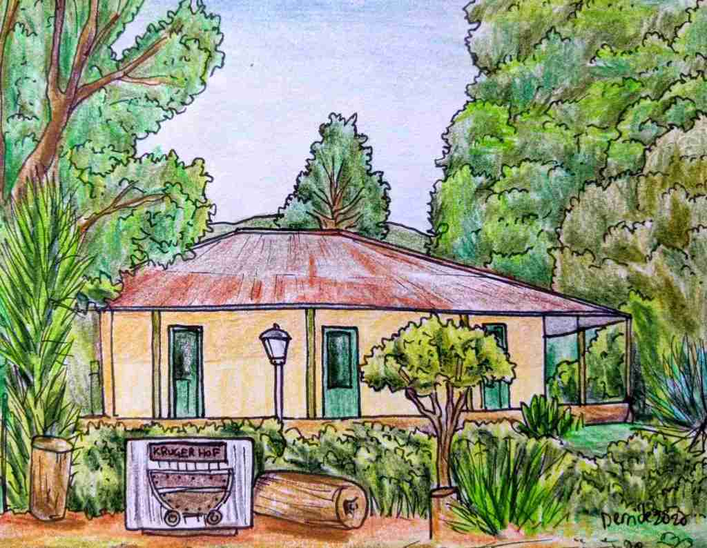 Drawing of Paul Kruger residence waterval goven Kruger Hof KrugerHof