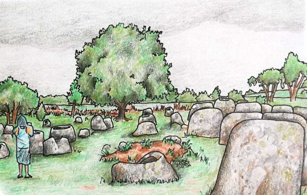 Sketch of Laos Plain of Jars near Phonsavan archaeological site