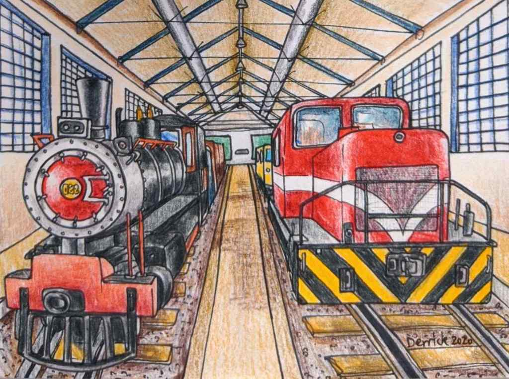 Drawing of Maputo Central Train Station museum Museo dos CFM historic train exhibit
