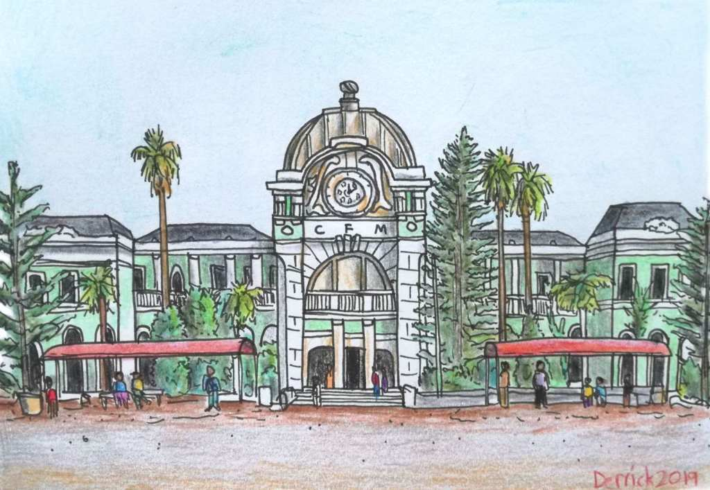 Drawing of maputo central train station urban sketching Africa Mozambique