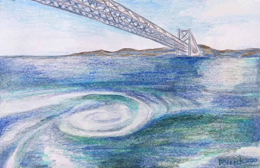 Drawing of Naruto Whirlpool maelstrom Japanese Bridge