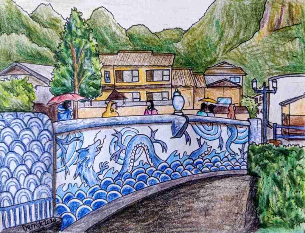 Bridge leading to Okawachiyama village traditional japanese Imari ware