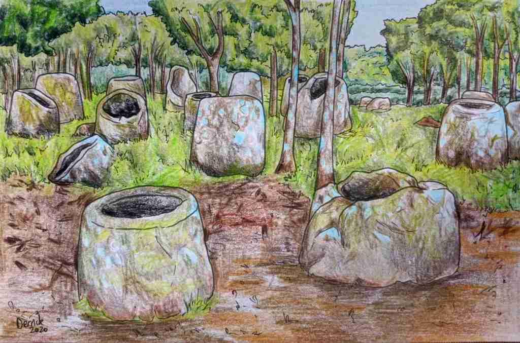 Drawing of Site 2 Plain of Jars in Laos Phonsavan Sight