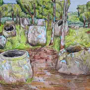 Drawing of Site 2 Plain of Jars in Laos Phonsavan Sight