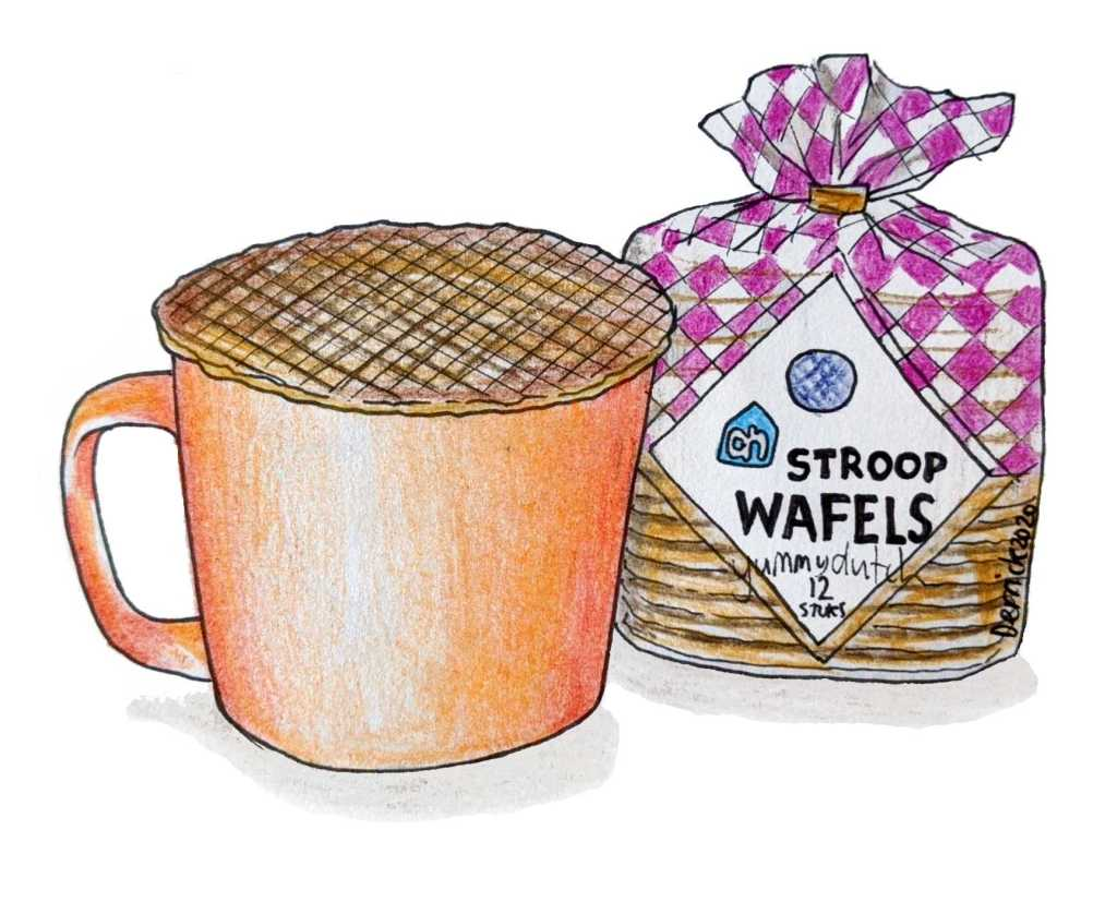 Drawing of a packet of stroopwafels with a stroopwafel placed on a coffee cup