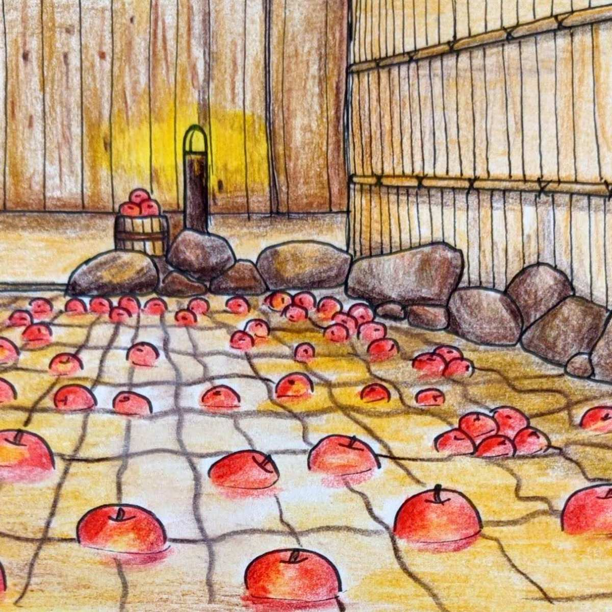 Drawing of a Japanese onsen with apples floating in the water