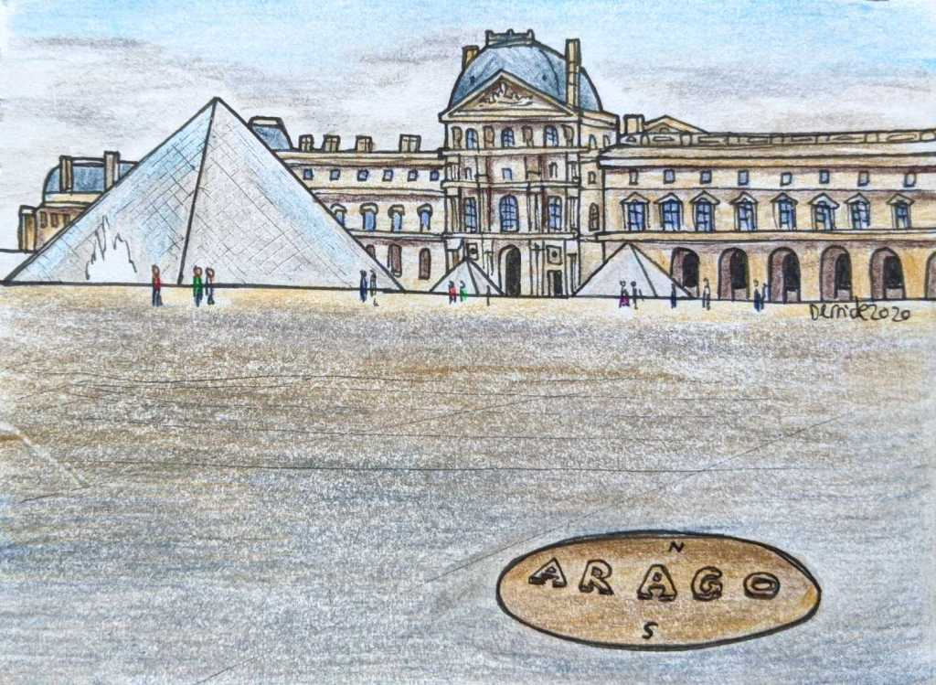 Drawing of a bronze Arago disc at the Louvre Paris
