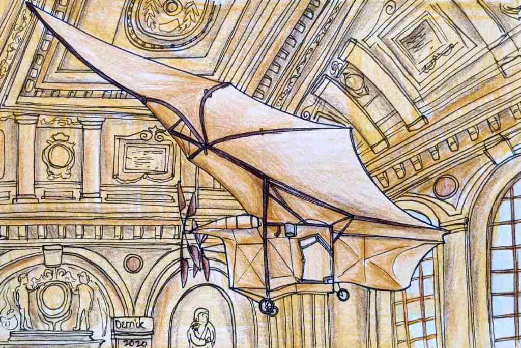 Drawing of the Ader Avion III batplane in the Musée des Arts et Mètiers Paris