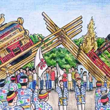 Drawing of two shrines fighting at the Imari ton ten ton matsuri festival
