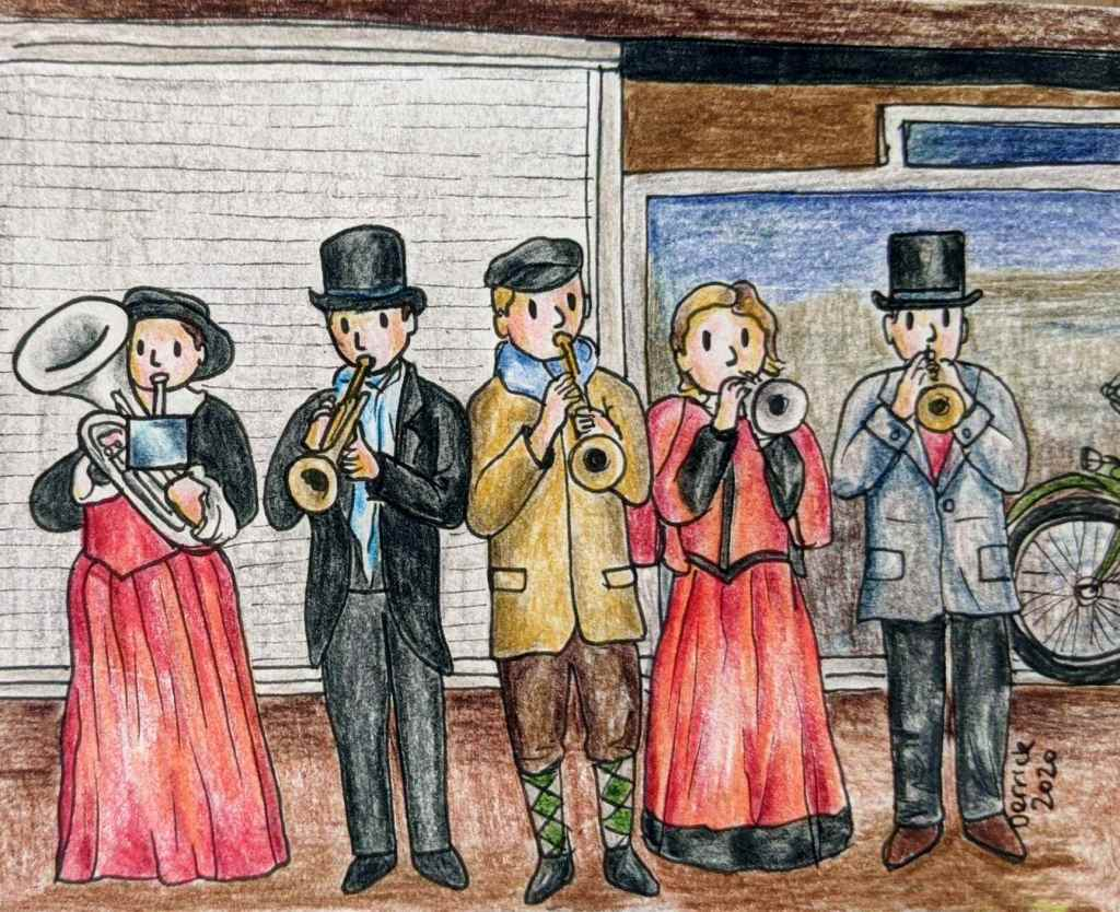 Drawing of cartoon figures playing trumpets at Haarlem Christmas market