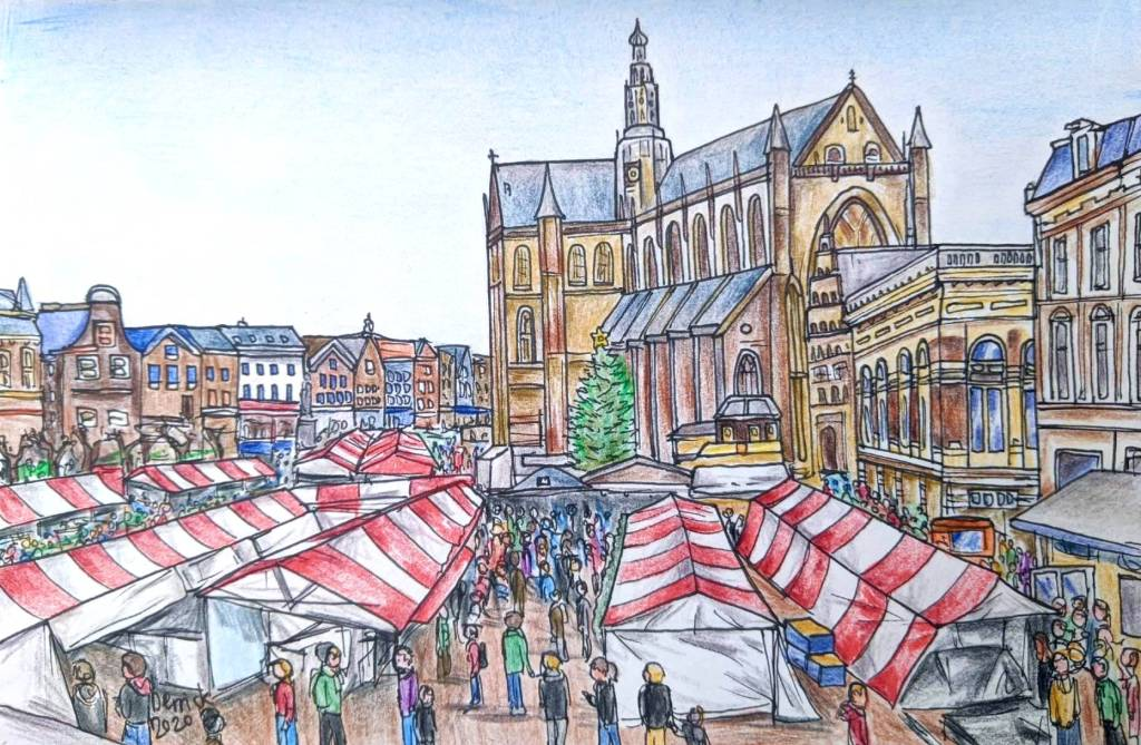 Drawing of Haarlem christmas markets with the st bavokerk cathedral