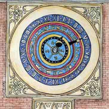 Sketch of the astronomical clock at Hampton Court England