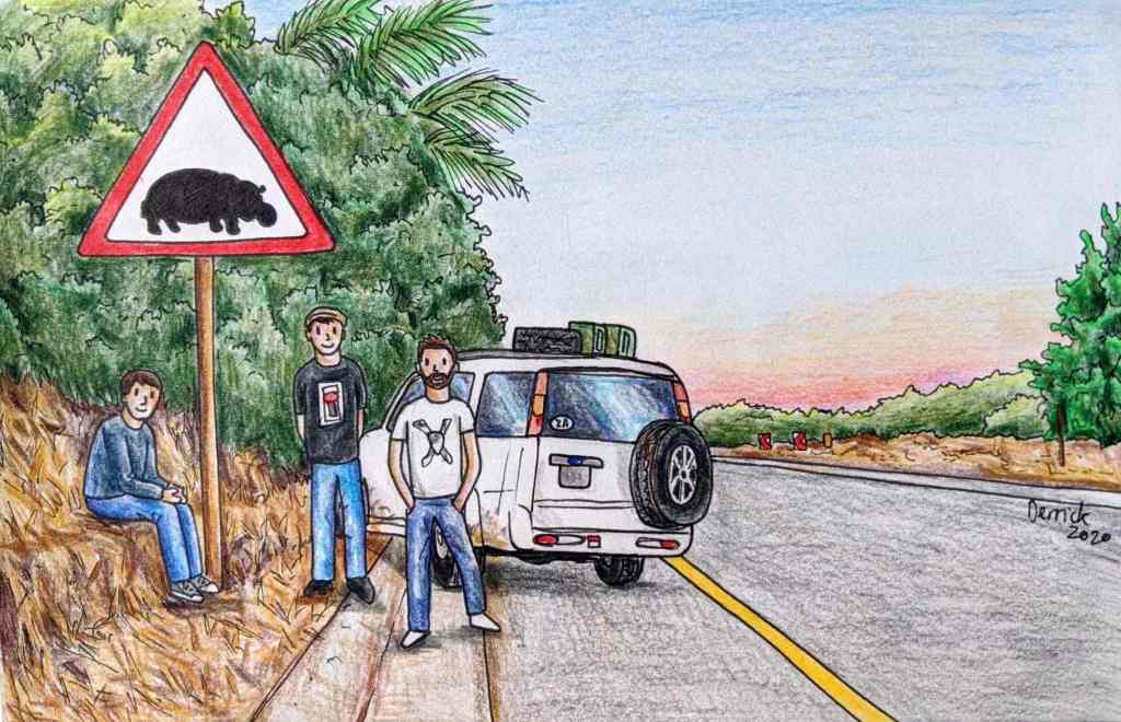 Drawing of hippopotamus road sign in South africa