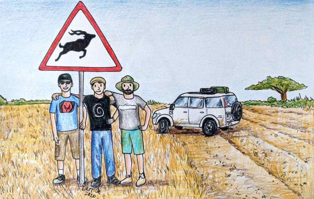 Drawing of A kudu road sign in Namibia