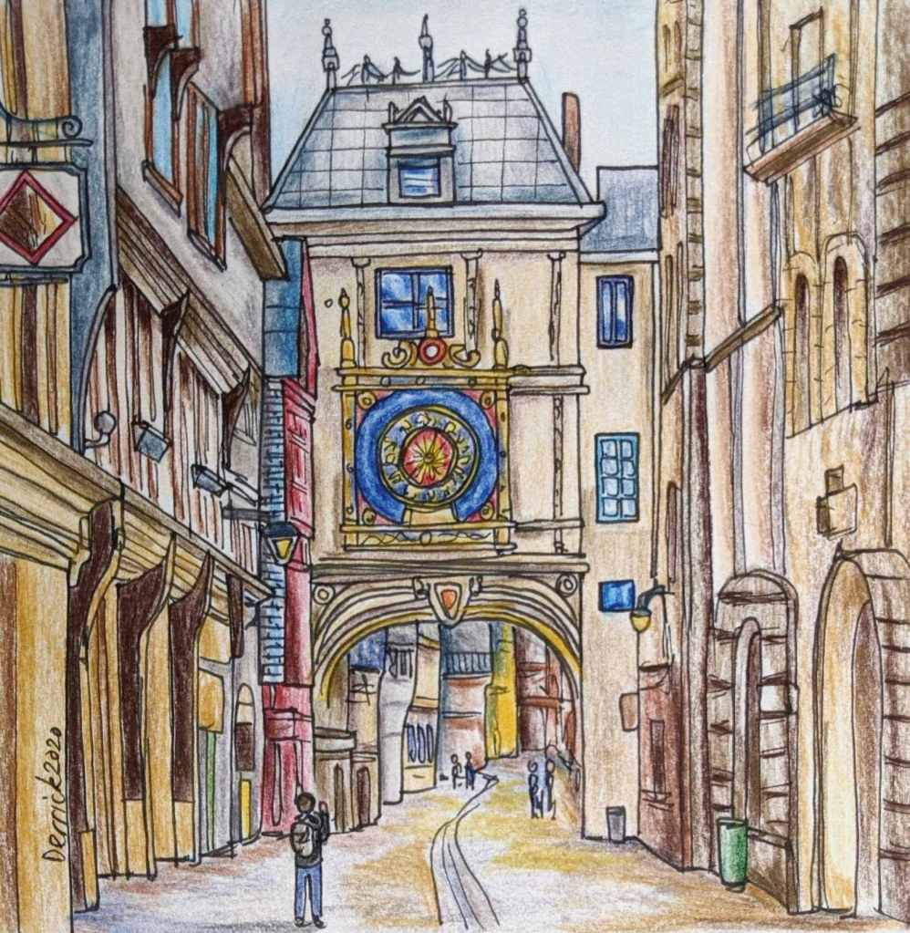 Drawing of the Rouen astronomical clock archway Le Gros Horloge