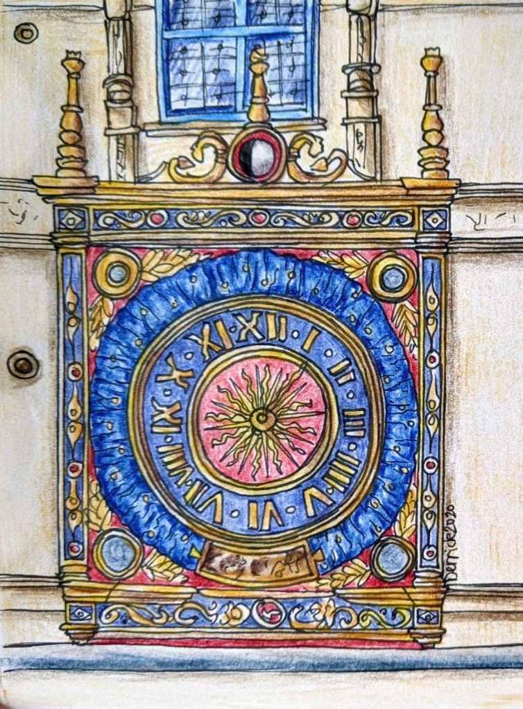 Urban sketch of Rouen astronomical clock Le Gros Horloge Clock Face