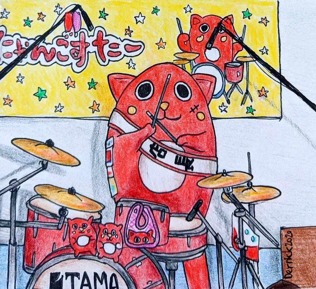 Aomori mascot Nyango Star apple cat playing the drums