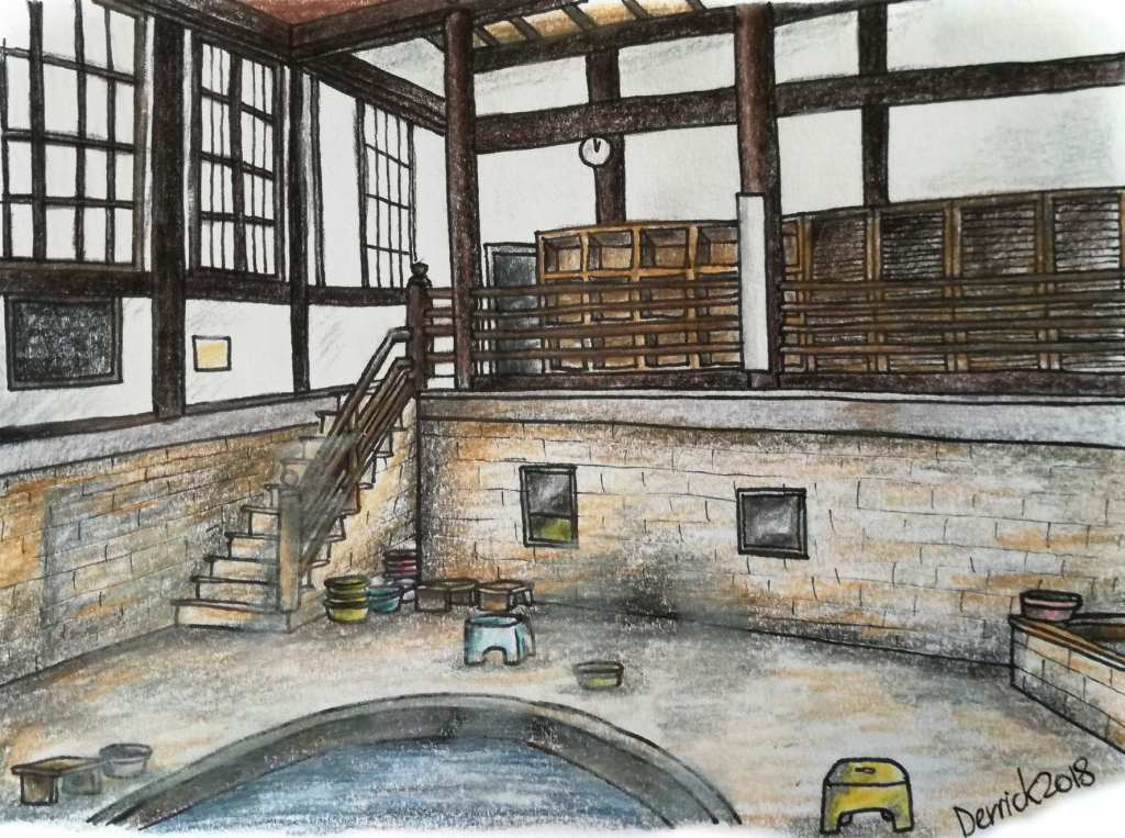 Sketch of the inside of Takegawara onsen in Beppu