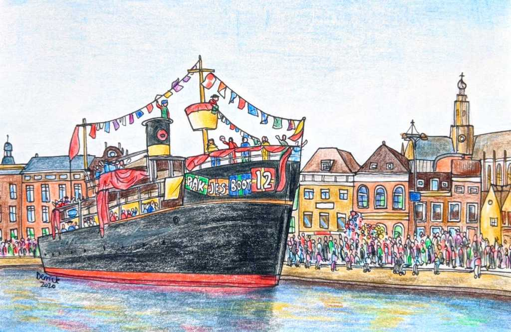 Sketch of Sinterklaas arriving in Haarlem for Christmas on the Pakjesboot Boat