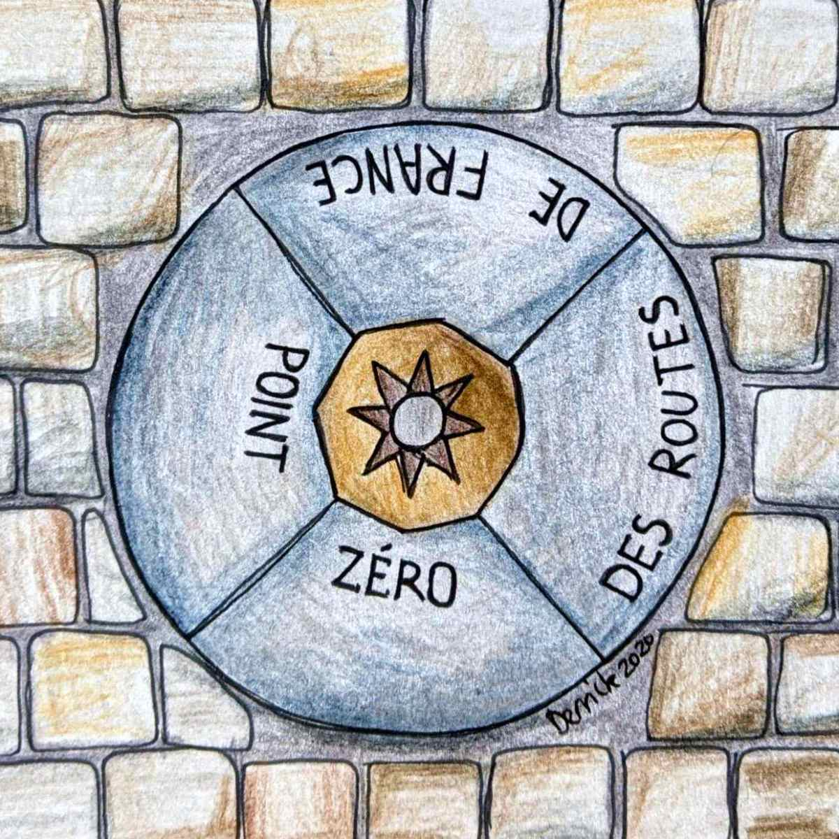 Sketch of the point zero des routes de france bronze marker at the Notre Dame