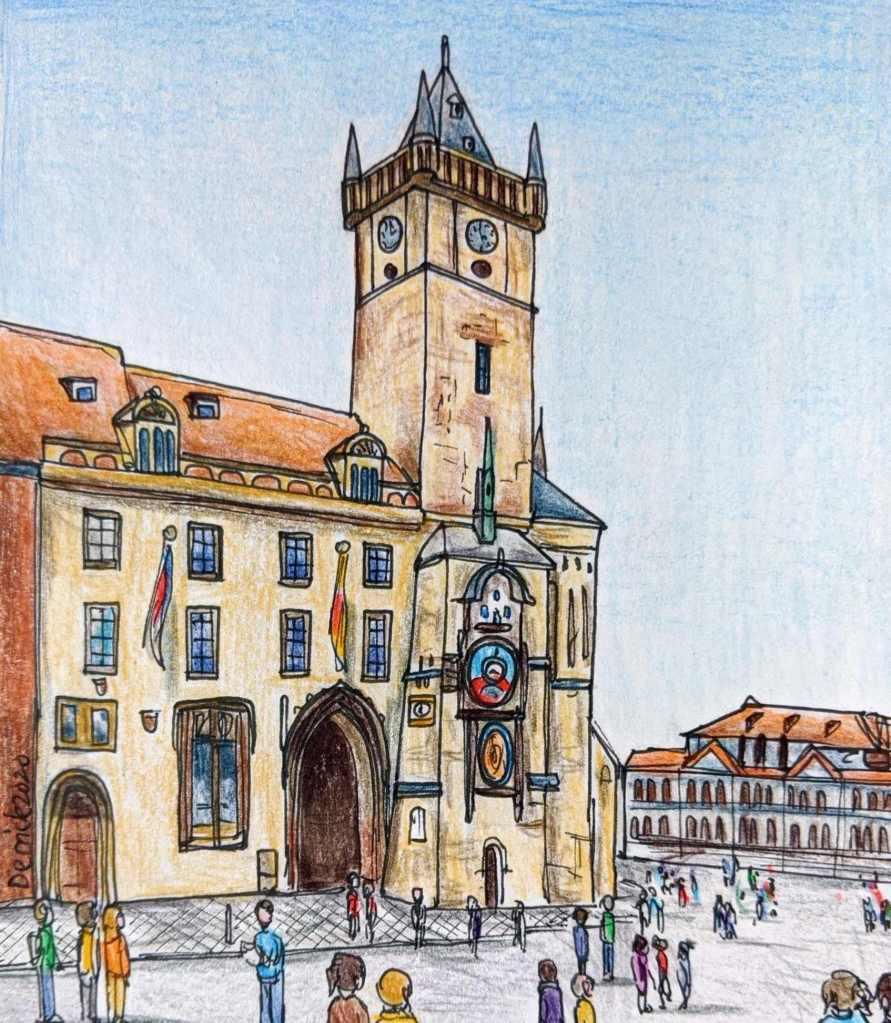 Drawing of Prague Town Hall with the Prague Orloj astronomical Clock