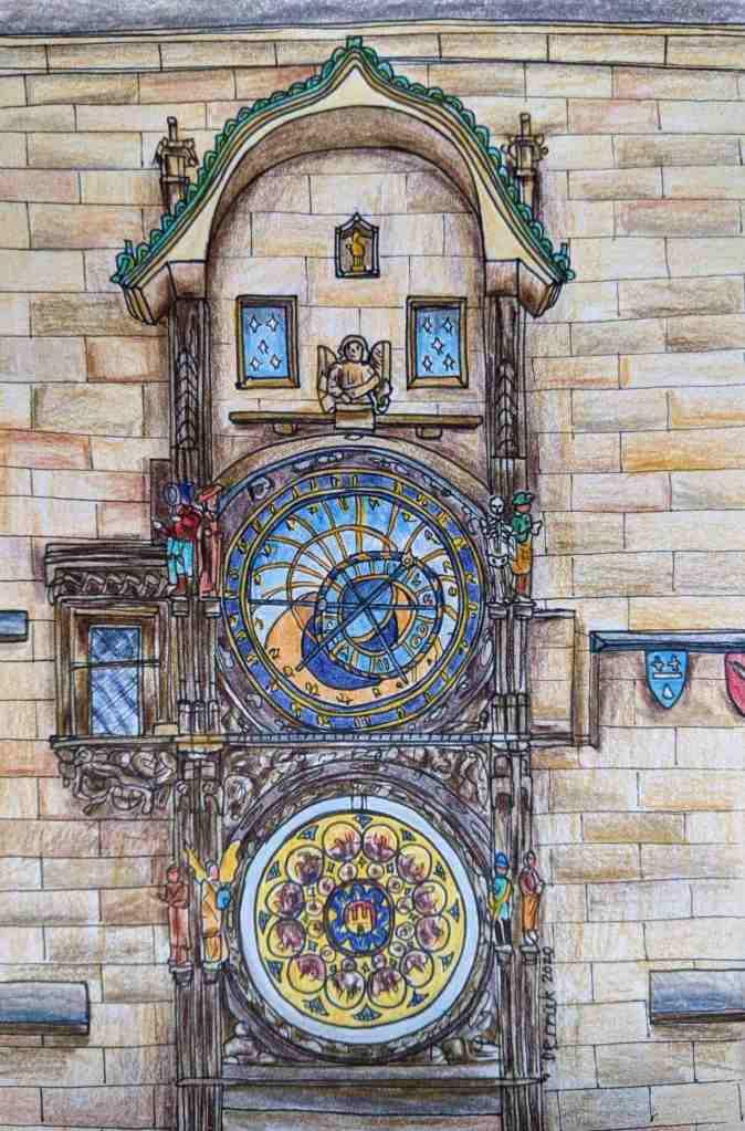 Drawing of Prague Orloj astronomical clock On the wall of Town Hall Prague