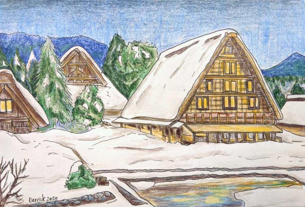 Urban sketching of Japanese traditional pointed roof houses in Gokayama and Shirakawa-Go