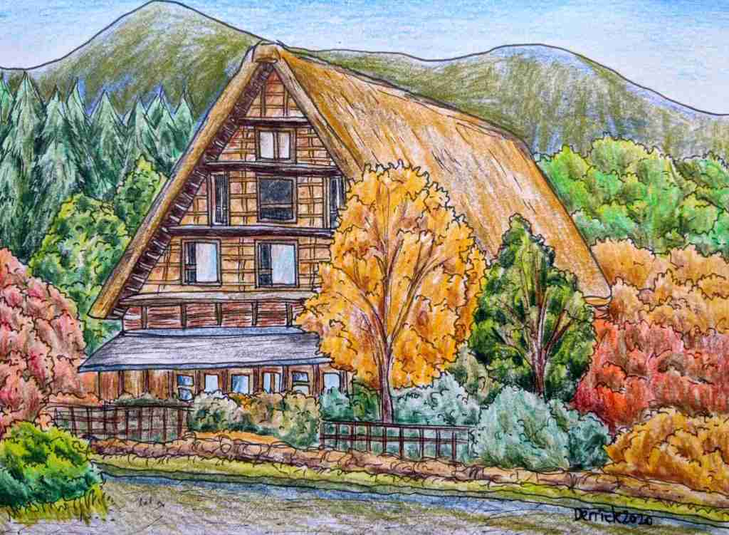Drawing of a traditional Gassho style Japanese house in the autumn Shirakawa village