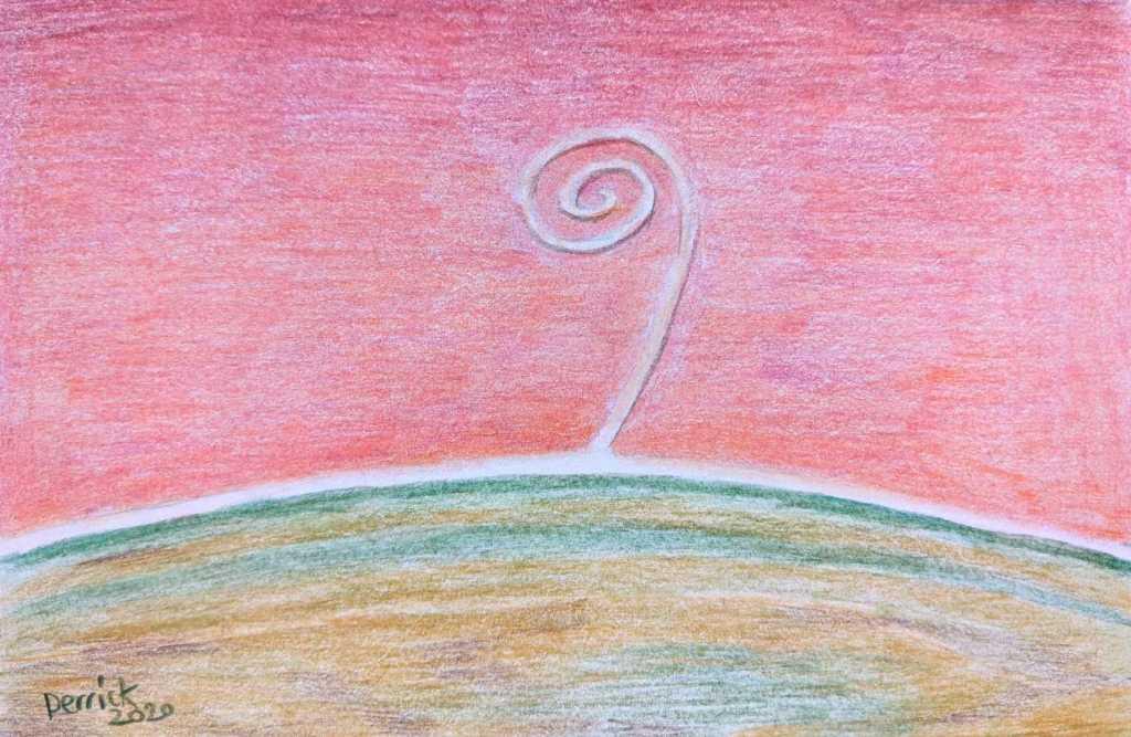 Drawing of Robert Smithson's Land Art Work Spiral Jetty in Utah