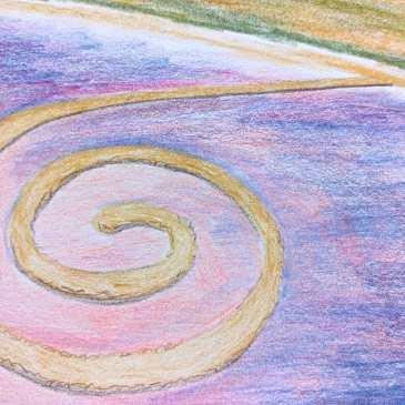Drawing of Spiral Jetty in Utahs Great Salt Lake pink water land art