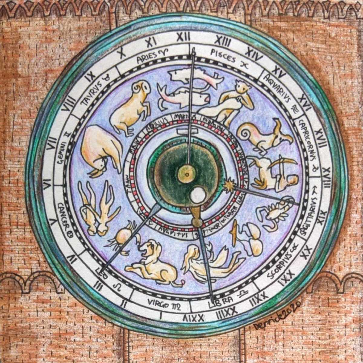Pencil drawing of the torrazzo of cremona astronomical clock italy
