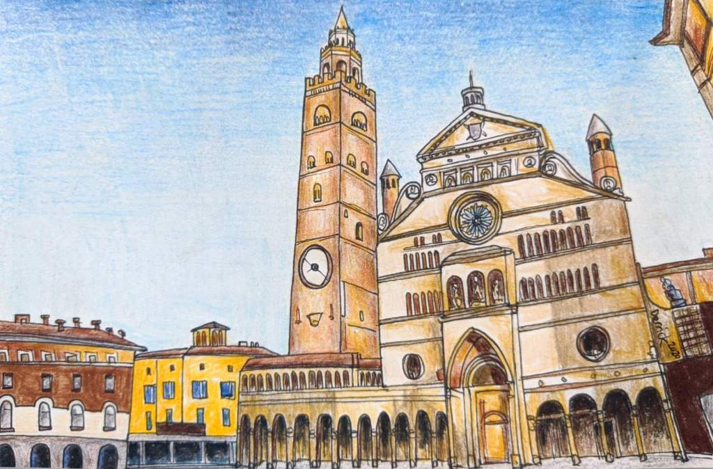 Pencil sketch of the Torrazzo of Cremona brick tower with torrazzo astronomical clock